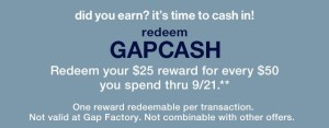 Redeem your Gap Cash Starting NOW!